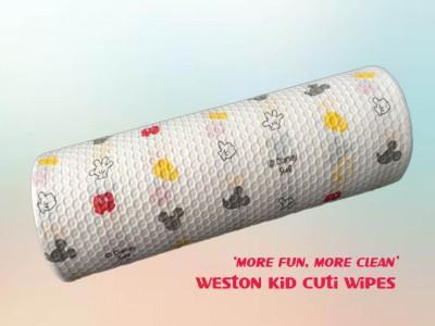 Cartoon Printed Woodpulp Spunlace Nonwovens for Children Wipes